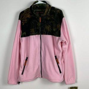 Trail Crest Pink Camo full zip fleece jacket